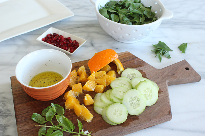 watercress salad oranges cucumbers